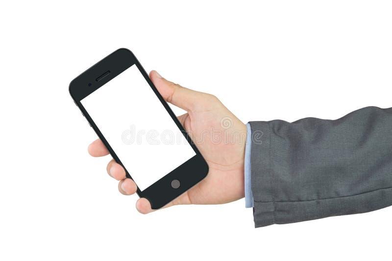 Biznesmena mienia pusty telefon komórkowy z ścinek ścieżką fotografia royalty free