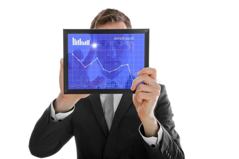 biznesmena mienia rynku komputeru osobisty zapasu touchpad fotografia stock