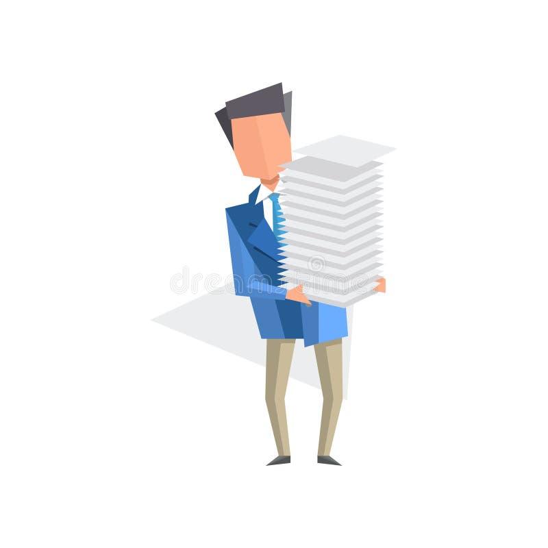 Biznesmena mienia stos biuro tapetuje i dokumenty, papierkowa robota, biurokracja, rutynowa biznesowa pojęcie kreskówka ilustracja wektor
