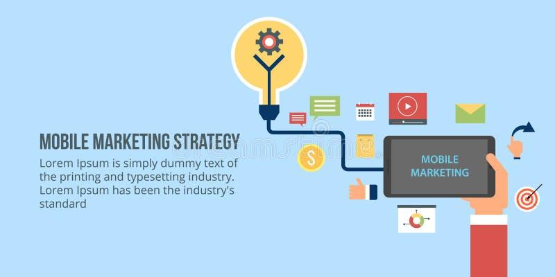 Biznesmena mienia urządzenie przenośne, łączący z marketingiem, promocyjnymi elementy i ikony Płaski projekta wektoru sztandar ilustracja wektor