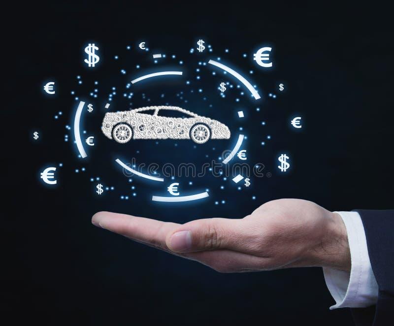 Biznesmena mienia waluty i samochodu symbole Pojęcie zakupu samochód obraz royalty free