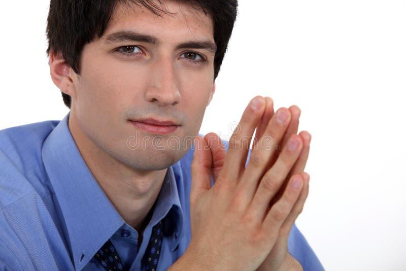 Biznesmena modlenie zdjęcia stock