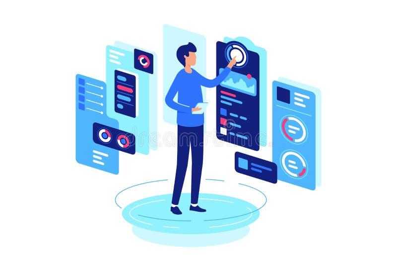Biznesmena monitorowanie wskaźniki stany procesy, finanse, diagramy ilustracji