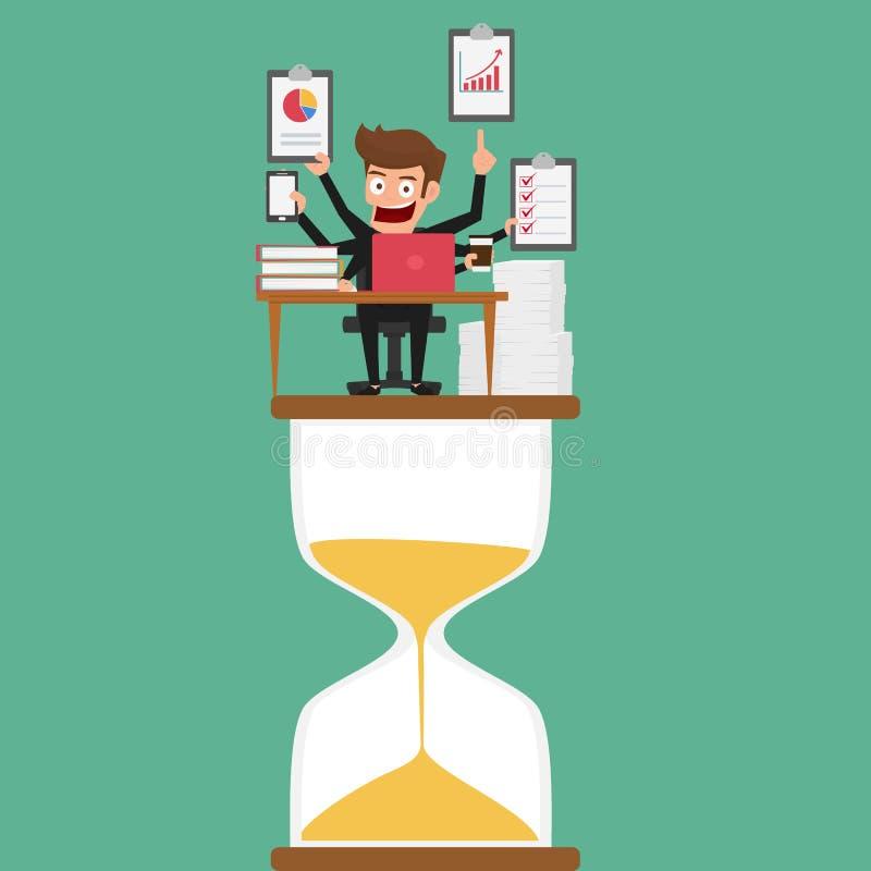 Biznesmena multitasking pracuje na hourglass z więcej rękami Zarządzanie i multitasking ilustracji