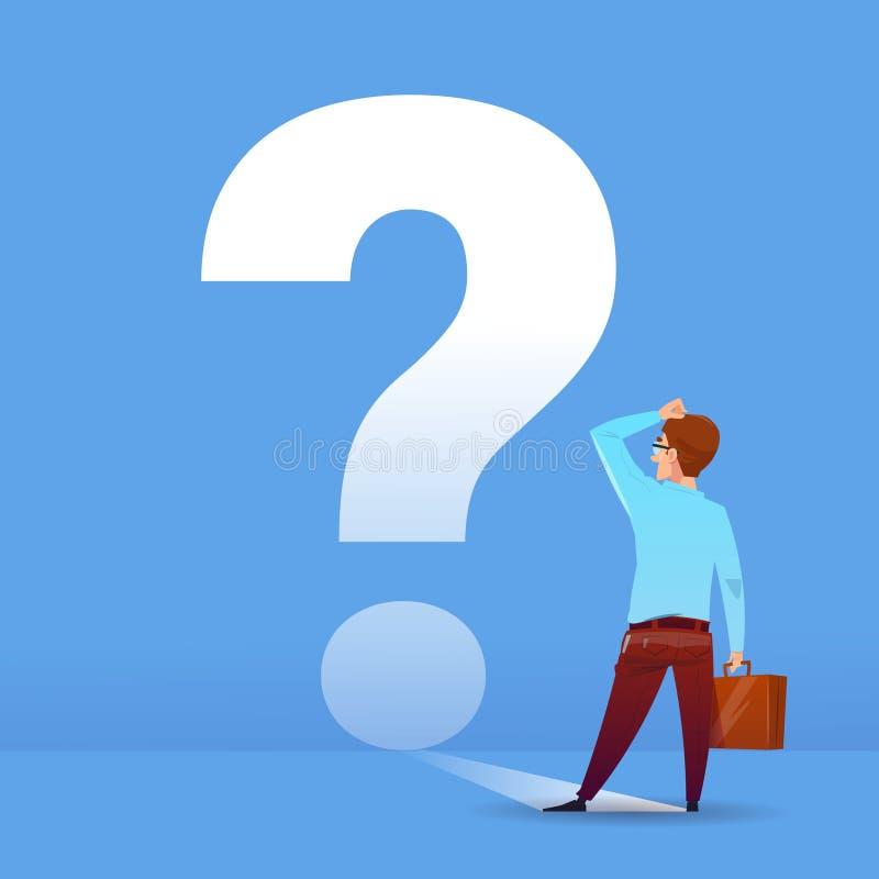 Biznesmena myślący znak zapytania rozpamiętywa problemowego biznesowego pieniężnego pojęcie na błękitnym tła mieszkaniu ilustracja wektor