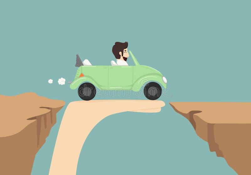 Biznesmena napędowy samochód na ręce ilustracja wektor
