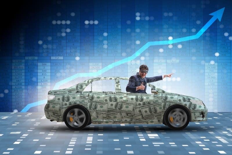 Biznesmena napędowy samochód zakrywający z my dolar fotografia royalty free