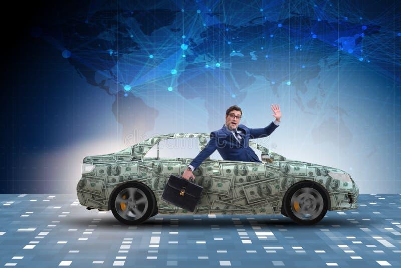 Biznesmena napędowy samochód zakrywający z my dolar zdjęcia stock