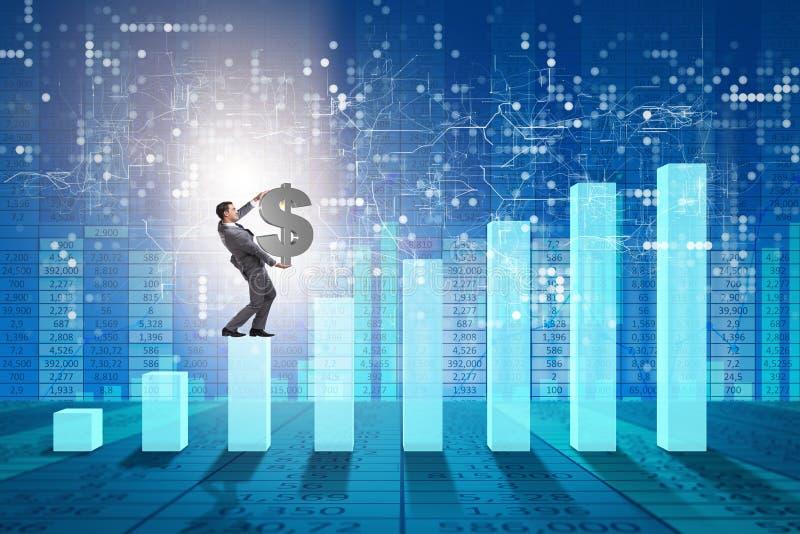 Biznesmena nieść dolarowy podpisuje wewnątrz ekonomicznego przyrosta pojęcie obrazy stock