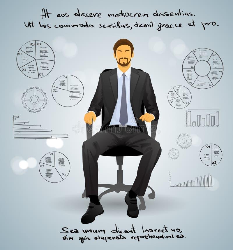 Biznesmena obsiadania Wykonawczy krzesło nad szarość ilustracji