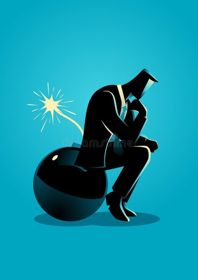 Biznesmena obsiadanie na bombie podczas gdy myśleć ilustracja wektor