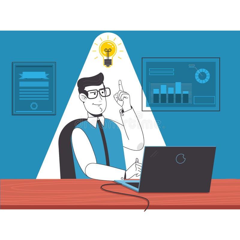 Biznesmena obsiadanie na krześle z laptopem i wskazywać żarówka pomysł Płaska wektorowa ilustracja ilustracji