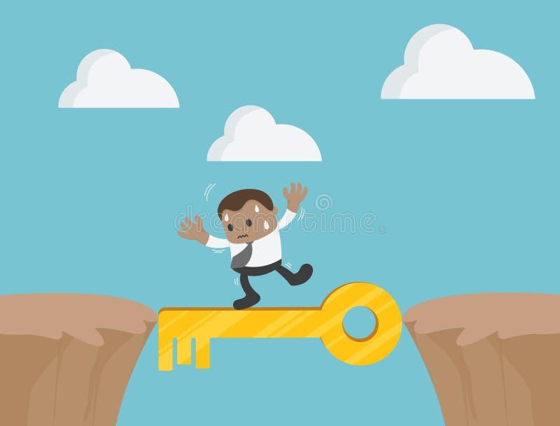 Biznesmena odprowadzenie na złocistym sukcesu klucza urwisku w górach ilustracja wektor