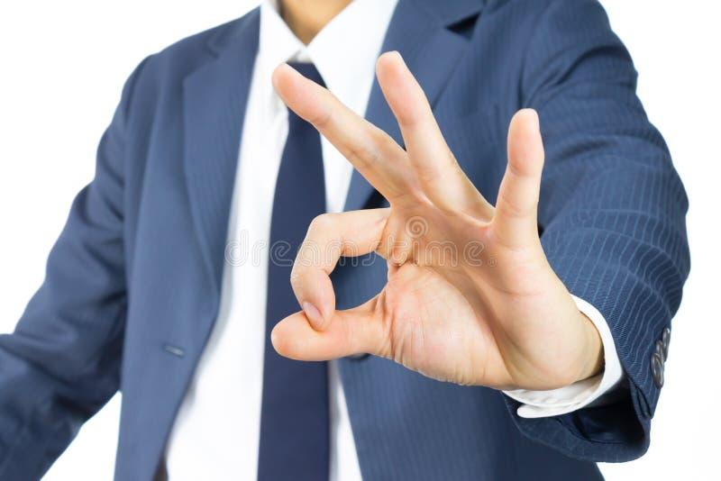 Biznesmena OK znaka ręki gest Odizolowywający na Białym Backgroud fotografia royalty free
