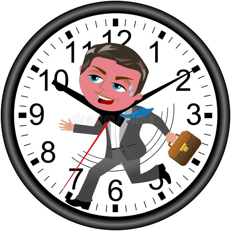 Biznesmena ostatecznego terminu zegaru bieg Odizolowywający ilustracji