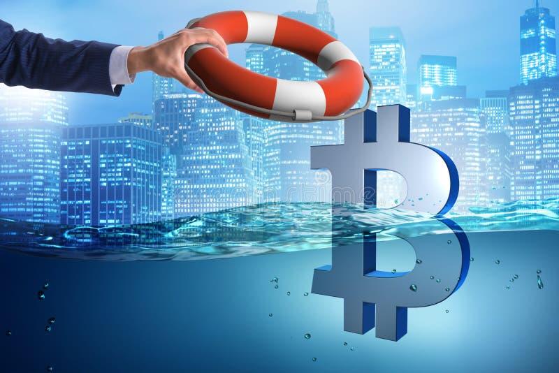 Biznesmena oszczędzania bitcoin waluta od inflaci zdjęcie stock