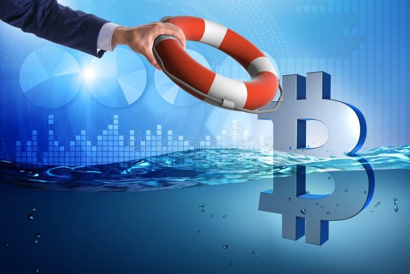 Biznesmena oszczędzania bitcoin waluta od inflaci obraz royalty free
