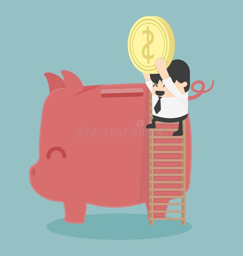 Biznesmena oszczędzania pieniądze ilustracji