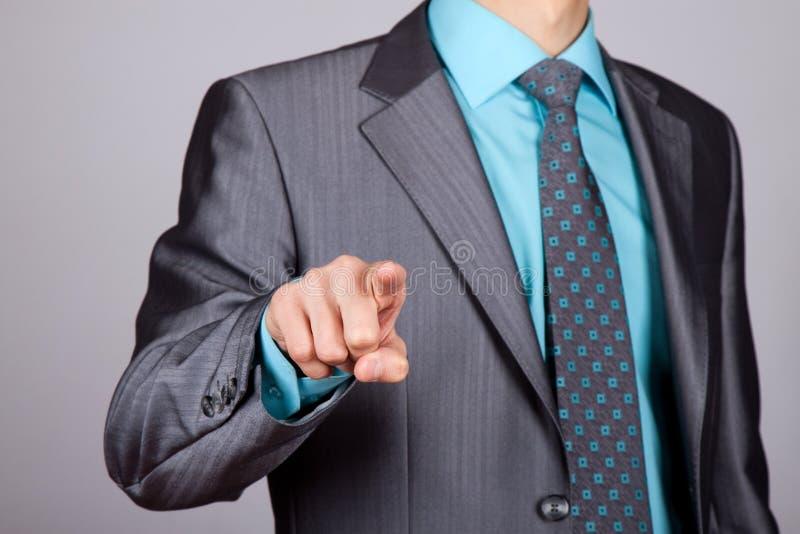 biznesmena palca punkt obrazy stock