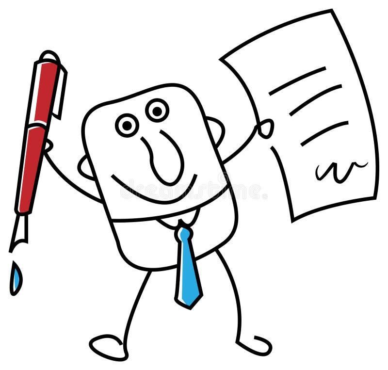 biznesmena papieru pióro royalty ilustracja