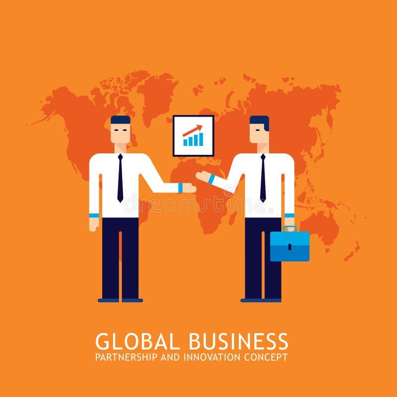 Biznesmena partnerstwa pracy zespołowej współpracy biznesu drużyny Pomyślnego pojęcia Płaski projekt royalty ilustracja