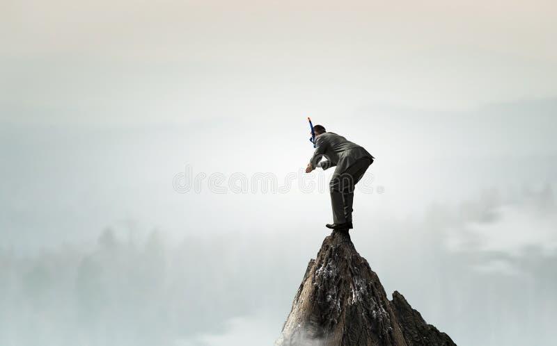 Biznesmena pikowanie od wierzchołka zdjęcie royalty free