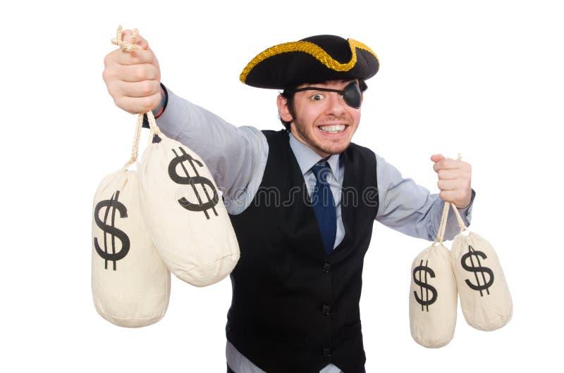 Biznesmena pirat odizolowywaj?cy na bia?ym tle obrazy royalty free