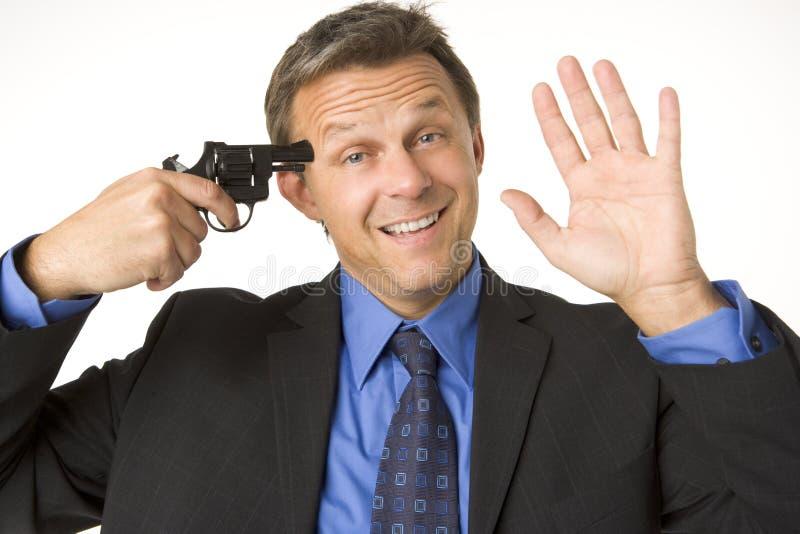 biznesmena pistoletu głowa ja target114_0_ jego mienie zdjęcie stock