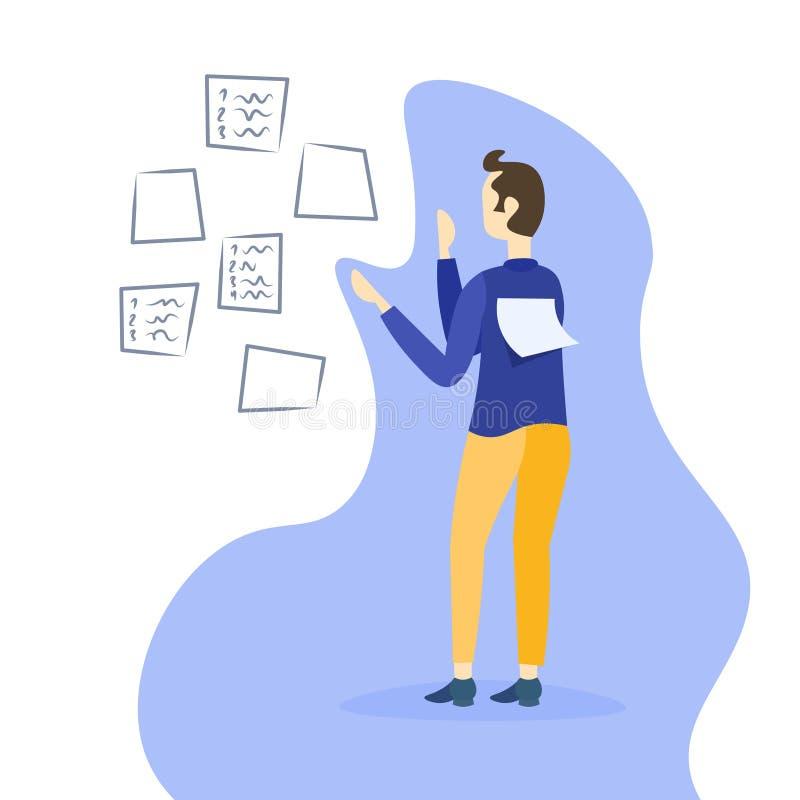 Biznesmena planowania rozkład robi notatka czasu zarządzania pojęciu biznesowego mężczyzna kierownika projektu samiec postać z kr royalty ilustracja