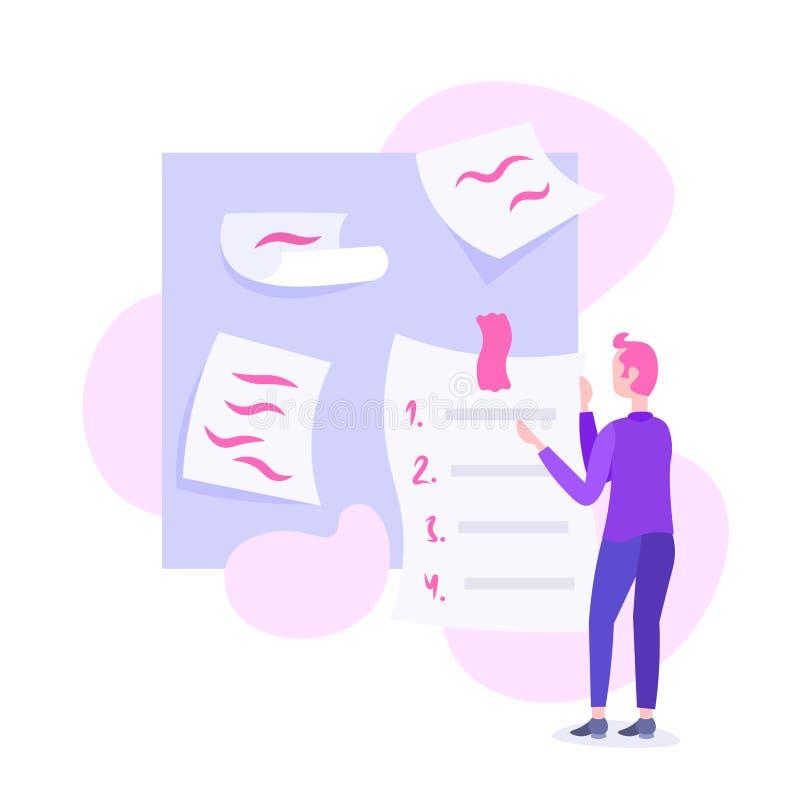 Biznesmena planowania rozkład robi notatka czasu zarządzania pojęciu biznesowego mężczyzna kierownika projektu samiec postać z kr ilustracji