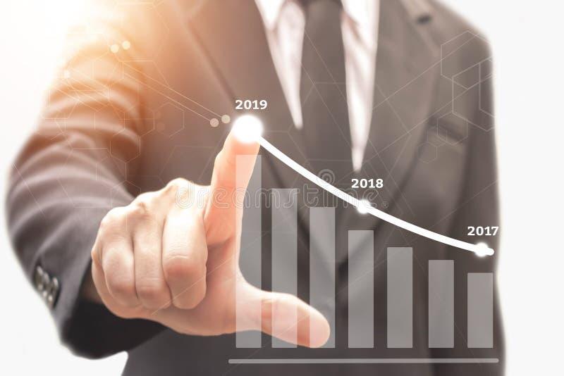 Biznesmena planu przyrost w 2019 rok obraz royalty free