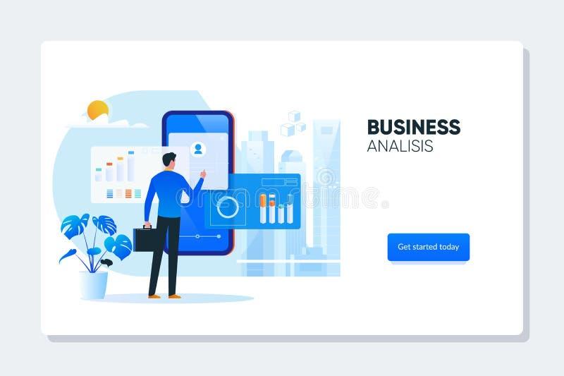 Biznesmena pobliski telefon z mapami i diagramami Dane analiza, Biznesowa statystyki, zarządzanie, Konsultuje, marketing _ ilustracji