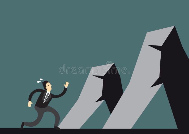 Biznesmena podejścia i bieg góry pokonywać ilustracja wektor