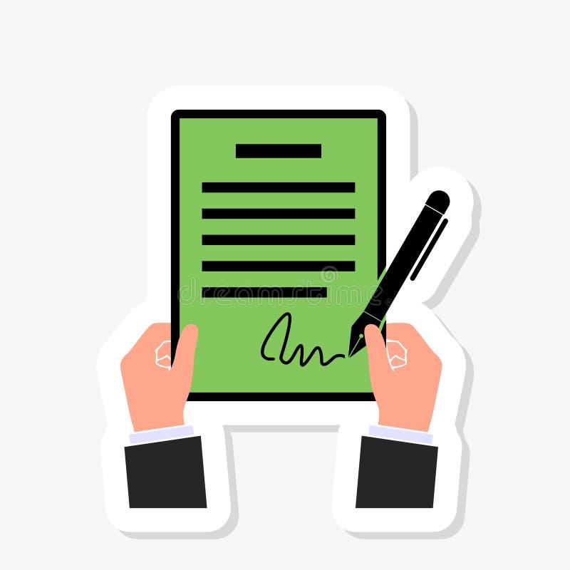 Biznesmena podpisywania kontrakt Jeden ręki chwyty kontrakty, inna ręka podpisują biznesowego zgoda kontrakt royalty ilustracja