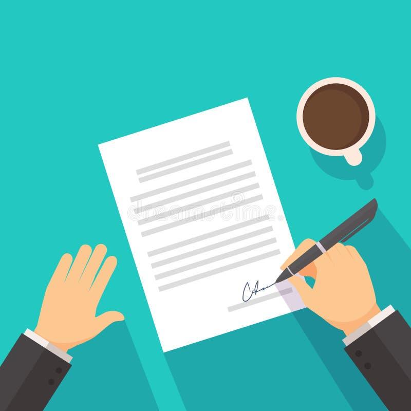 Biznesmena podpisywanie na kontraktacyjnej zgodzie fotografia stock