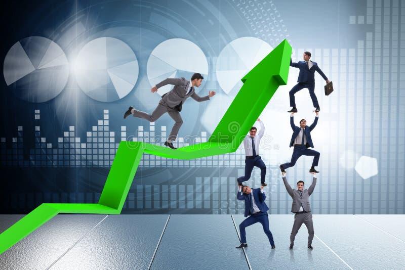 Biznesmena podporowy growtn w gospodarce na mapa wykresie ilustracji
