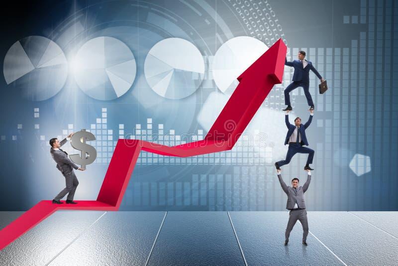 Biznesmena podporowy growtn w gospodarce na mapa wykresie royalty ilustracja