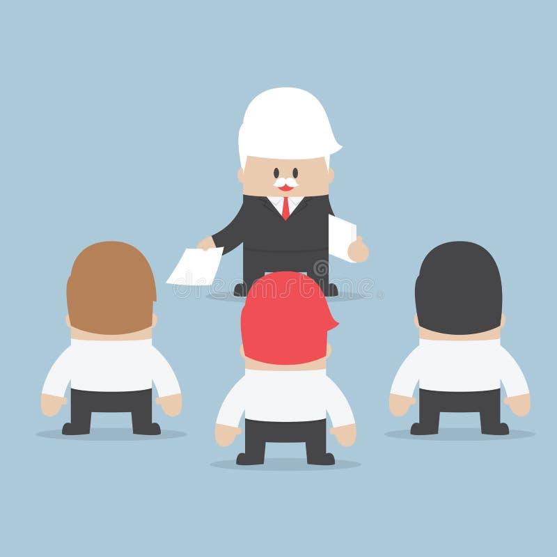 Biznesmena podział w górę pracy jego pracownik, delegaci conce