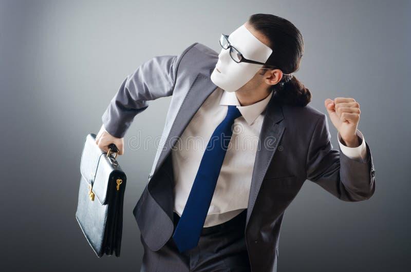biznesmena pojęcia espionate przemysłowy zamaskowany zdjęcia stock