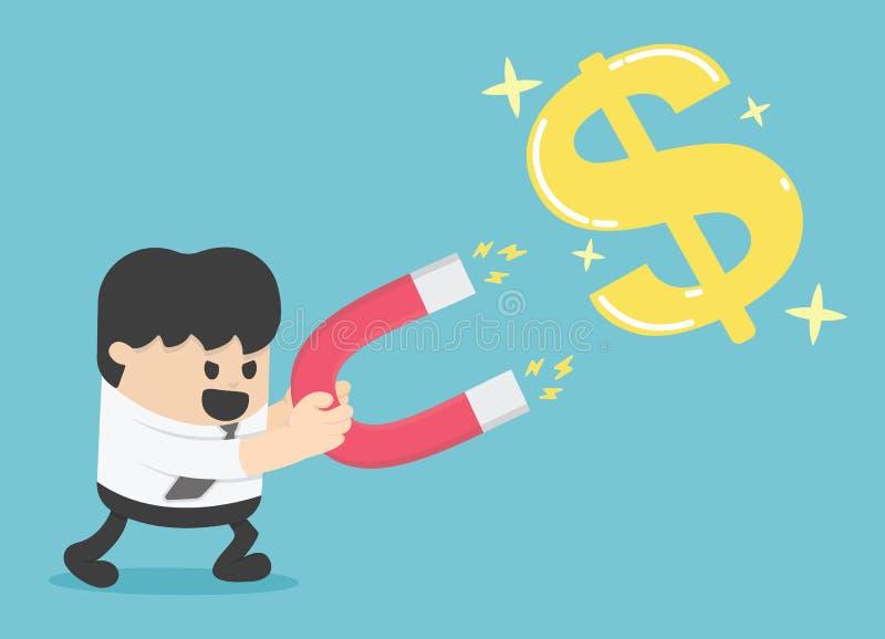 Biznesmena pojęcia ręka używać magnes przyciągać pieniądze złoto royalty ilustracja
