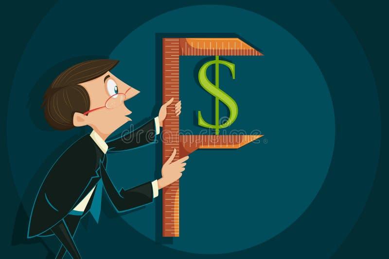 Biznesmena pomiarowy dolar ilustracja wektor