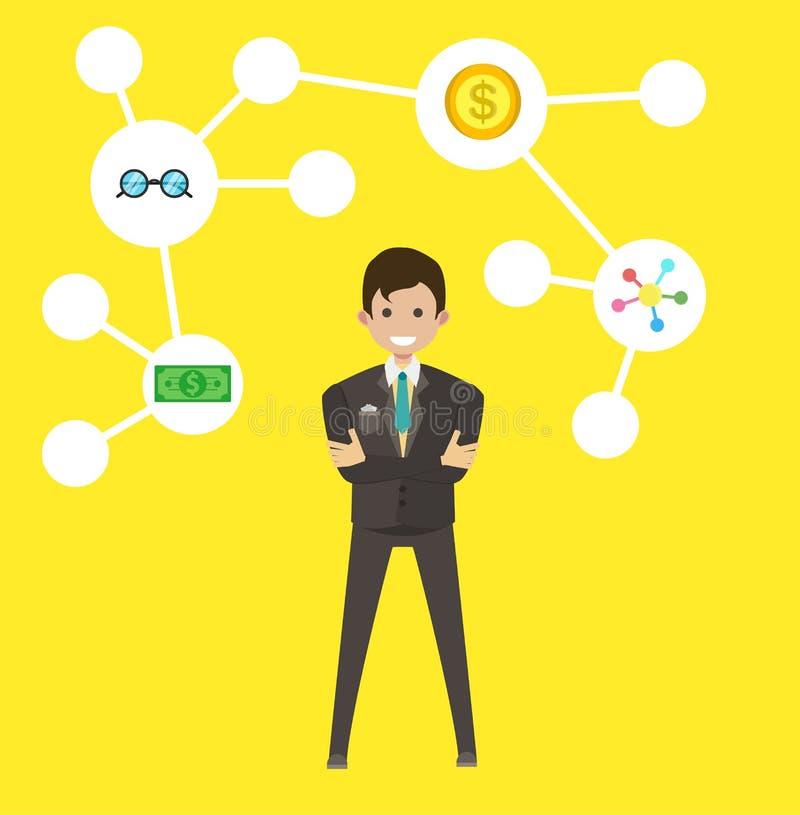 Biznesmena pomysłu insipration symbol Męski biznesowy kreskówka finanse brainstorming pojęcie Wyobraźni inteligenci komunikacja royalty ilustracja