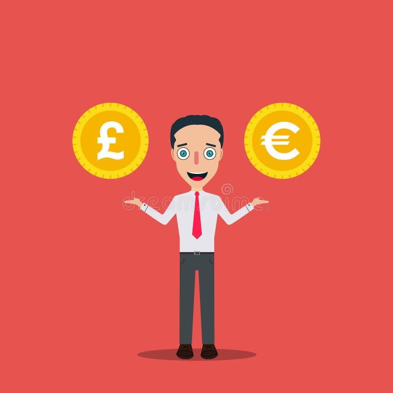 Biznesmena postać z kreskówki projekta szablonu pieniądze ikona Odizolowywająca Wektorowa Ilustracyjna zmiana royalty ilustracja