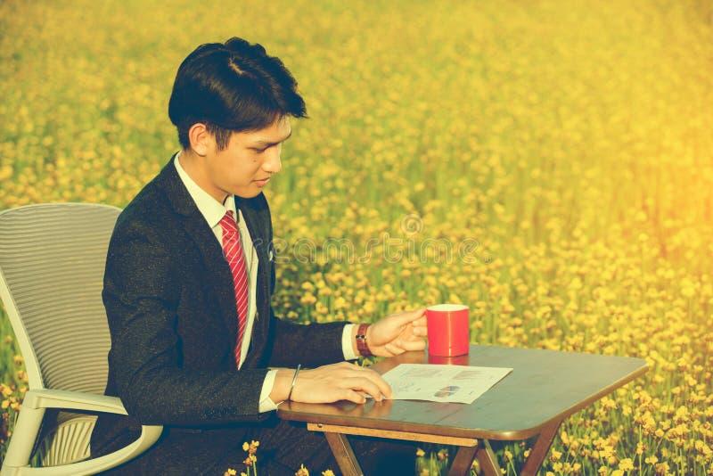 Biznesmena pracować plenerowy w kwiatu polu zdjęcie royalty free