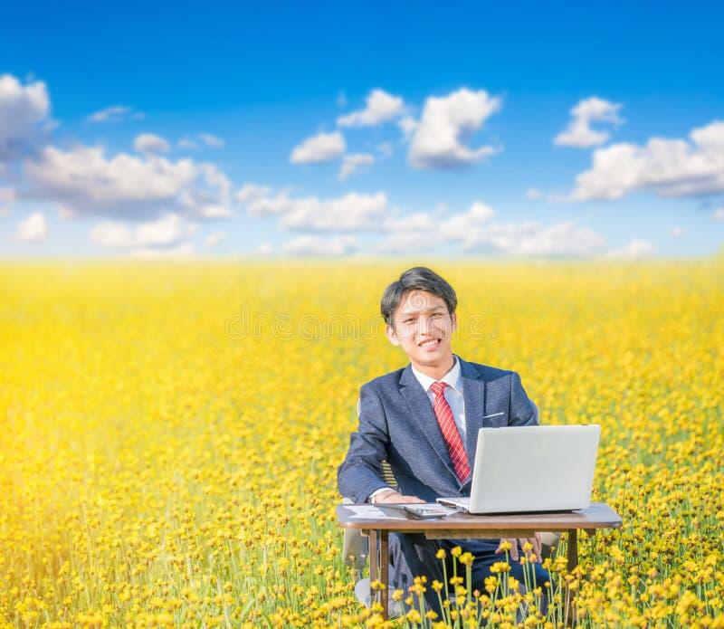 Biznesmena pracować plenerowy w kwiatu polu obraz royalty free