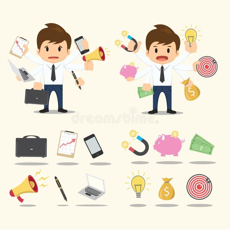 Biznesmena pracownika charakteru ikony ustalony wektor royalty ilustracja