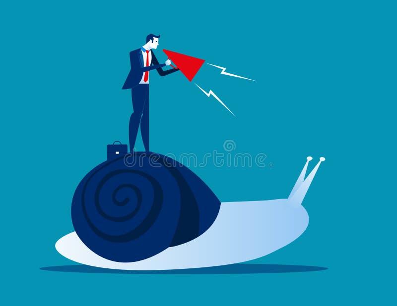 Biznesmena pragnienie na ślimaczku Pojęcia biznesowy wektorowy illustratio ilustracji