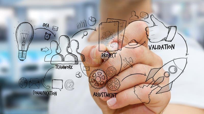 Biznesmena projekta rysunkowa rękopiśmienna prezentacja ilustracja wektor