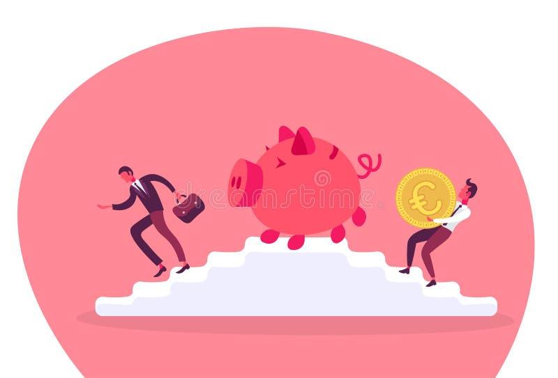 Biznesmena przewożenia euro monety prosiątka banka drabinowego podium bogactwa pracy zespołowej pojęcia wspinaczkowy wzrostowy po royalty ilustracja