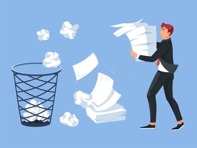 Biznesmena przewożenia papieru stosu biura kosz na śmieci ilustracji